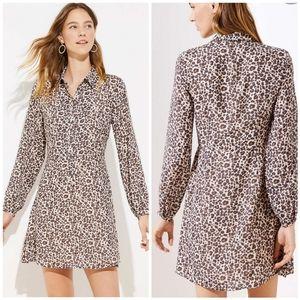 Loft Leopard Print Flare Shirtdress Small